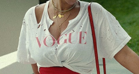 Beyonce's vogue torn t-shirt, stess magazine, vogue