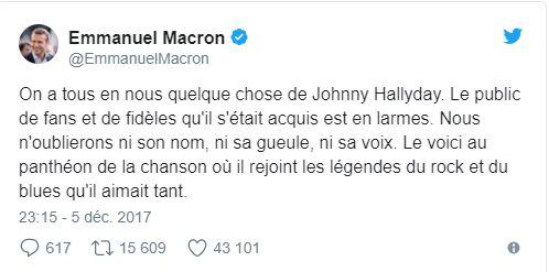 Emmanuel Macron et Johnny Hallyday, mor de Johnny Hallyday, Johnny Hallyday mort d'un cancer des poumons, Johnny Hallyday mort